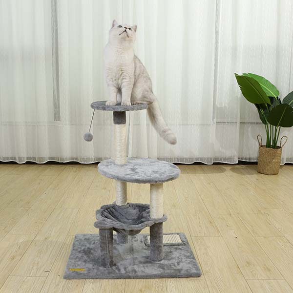 Round Cat Tree Tower With Hammock for Playing