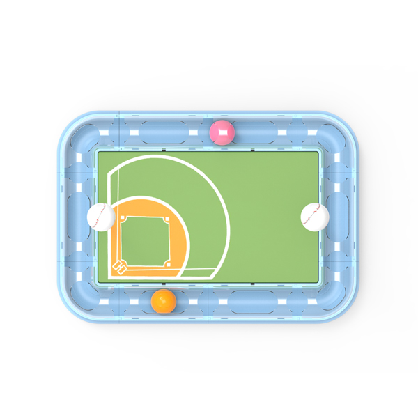 Baseball court cat toy ball track and scratcher board